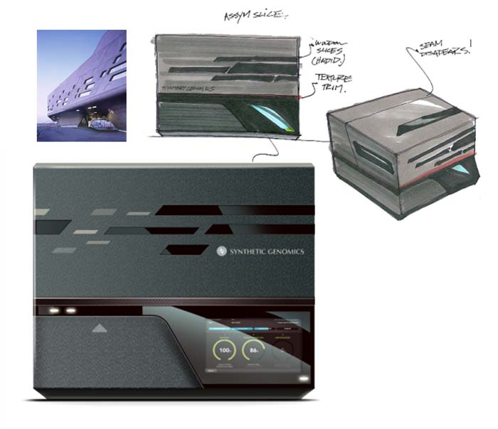 sketches and 2d render of BioXp 3200